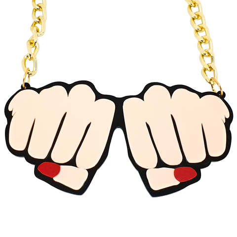 Ka-Blam! Double Fist Chunky Acrylic Necklace