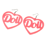 Hey Doll Face! Pink Acrylic Earrings