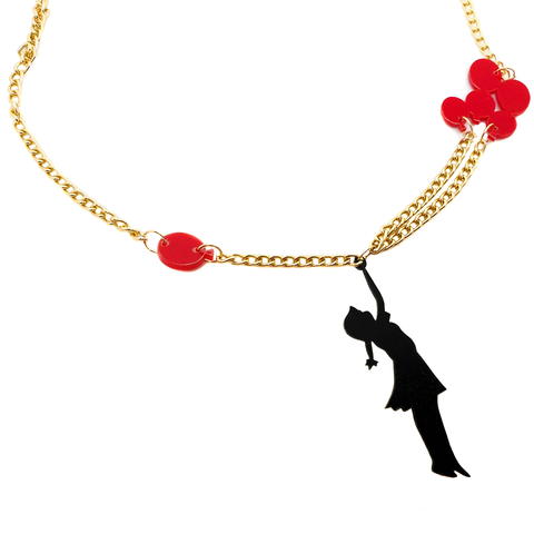 Up, Up, Up and Away! Girl with Red Balloons Necklace