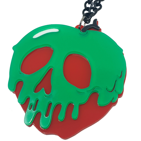 Spooky Skull Candy Apple Acrylic Necklace