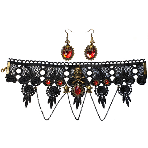 Gothic Skull & Lace Choker and Earring Set