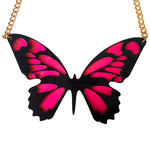 Giant Pink Butterfly Acrylic Necklace