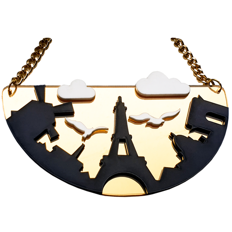 Paris Landmarks Acrylic Necklace
