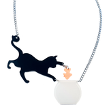 Naughty Kitty in Goldfish Bowl - Acrylic Statement Necklace