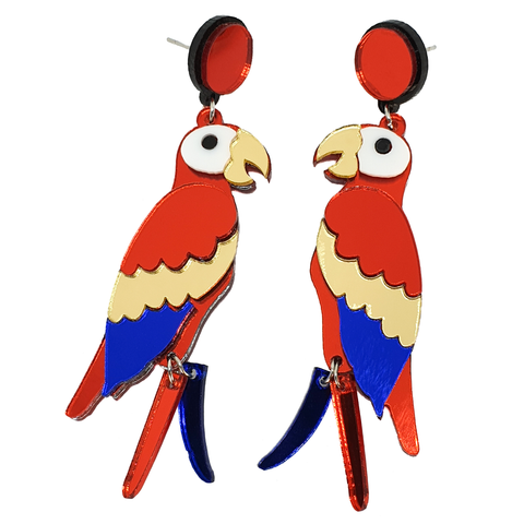 Polly Want a Cracker? Acrylic Parrot Earrings