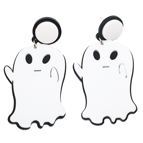 Boo! Cute White Ghost Earrings