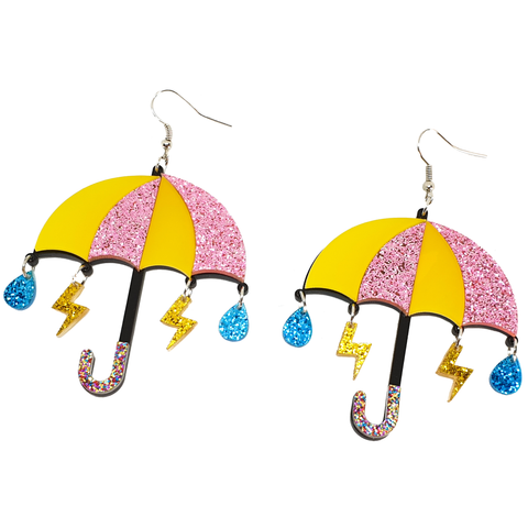 Rain Rain Go Away... Umbrella with Lightning Bolts and Raindrops Earrings