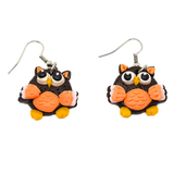 Cute Brown and Orange Owl Earrings