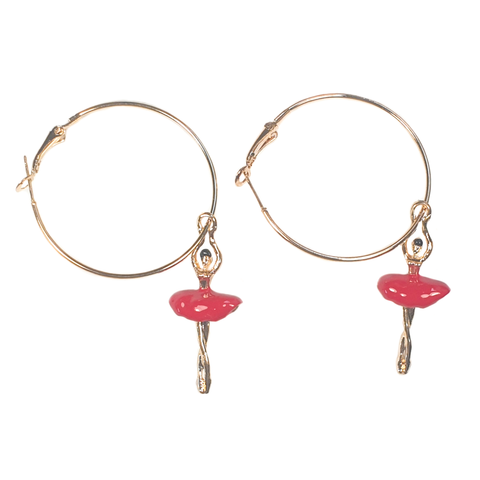 Beautiful Ballet Dancer Hoop Earrings