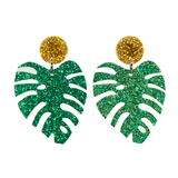 Glittery Tropical Palm Leaf Earrings