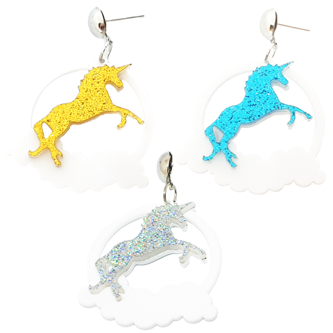 Team Unicorn! Glittery Acrylic Earrings
