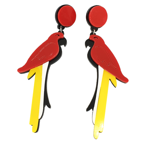 Tropical Red Parrot Earrings