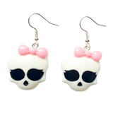 Spooky but Cute! Skull with Bow Earrings