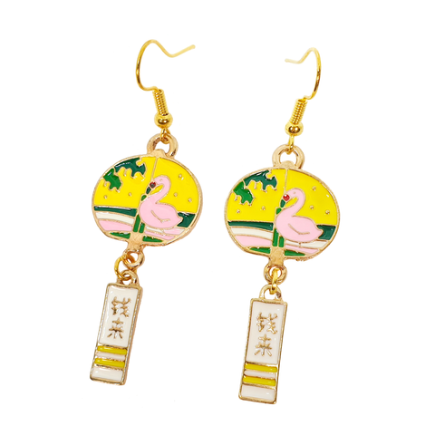 Enamel Charm Flamingo Earrings