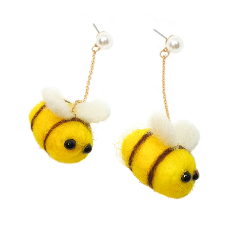 Fluffy Bumblebee - Earrings