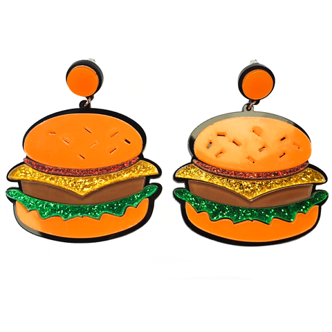 Big Ol' Beefy Burger Acrylic Earrings