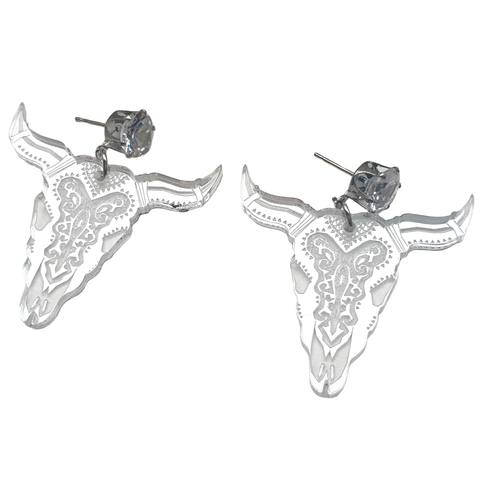 Mirrored Acrylic Bull Skull Earrings