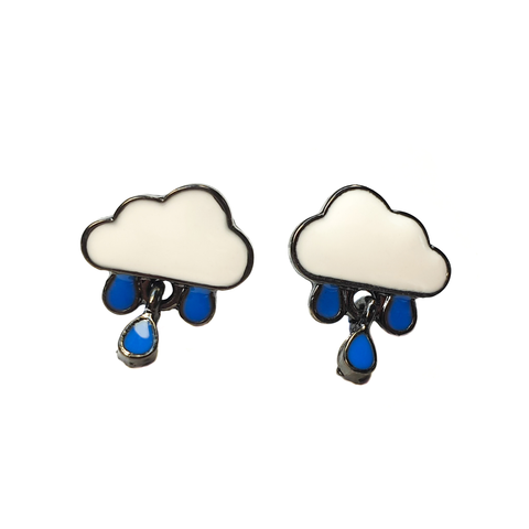Dinky Rain Cloud Enamel Earrings
