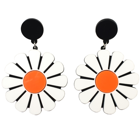 Giant Daisy Acrylic Earrings