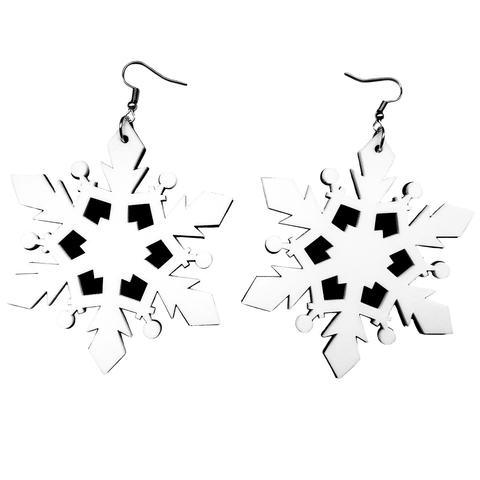 Jumbo Snowflake Acrylic Earrings