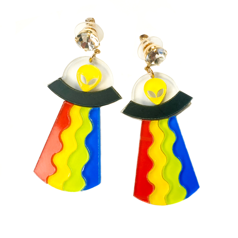 Funky Flying Saucer Earrings