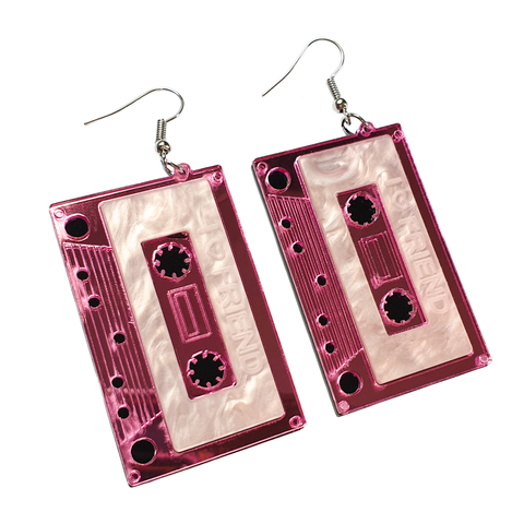 80's Appreciation - Pink Cassette Tape Acrylic Earrings