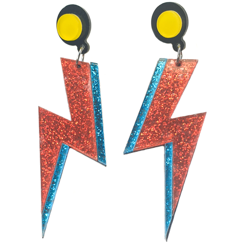 Starman Blue & Red Lightning Bolt Earrings