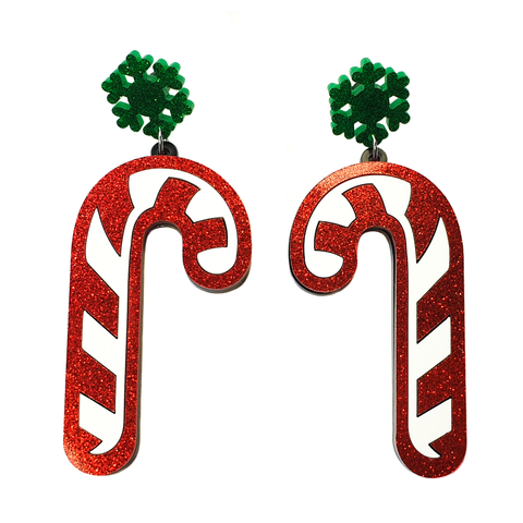 Giant Candy Cane Acrylic Earrings
