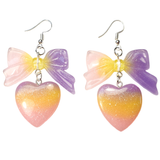 Pastel Lolita Heart & Bow Earrings