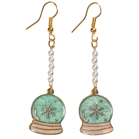 Enamel Snow Globe Earrings