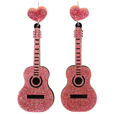 Glittery Guitar Acrylic Earrings