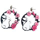 White Bunny and Pink Flowers Acrylic Earrings