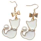 Pearly White Kitty Earrings