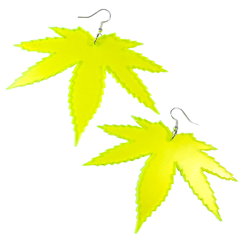 4/20 Green Leaf Acrylic Earrings