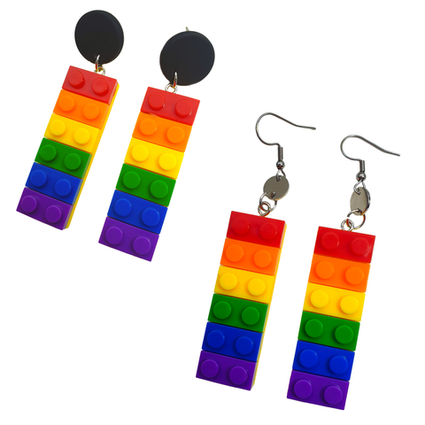 Rainbow Lego Block Earrings