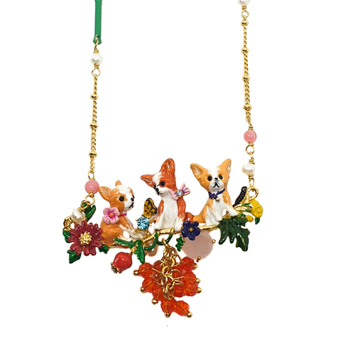 Three Dogs & Butterfly Necklace - cheeky-trendy