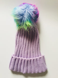 18d36e03f10de Lilac Knitted Hat With Rainbow Faux Fur Pom Pom Bobble