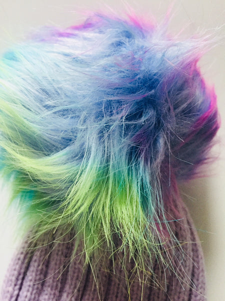 ee2d91884f6c3 ... Lilac Knitted Hat With Rainbow Faux Fur Pom Pom Bobble Rear Bobble ...