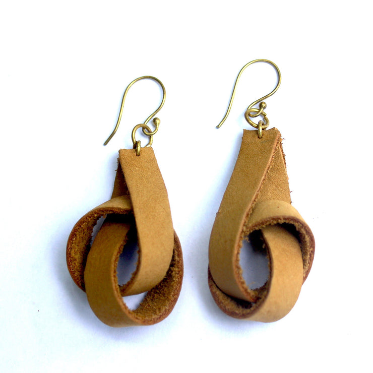 Camel Colored Knot Earrings
