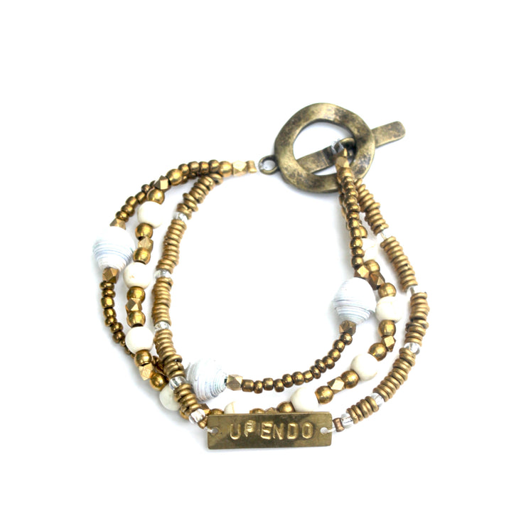 Upendo Means Love Brass Bracelet