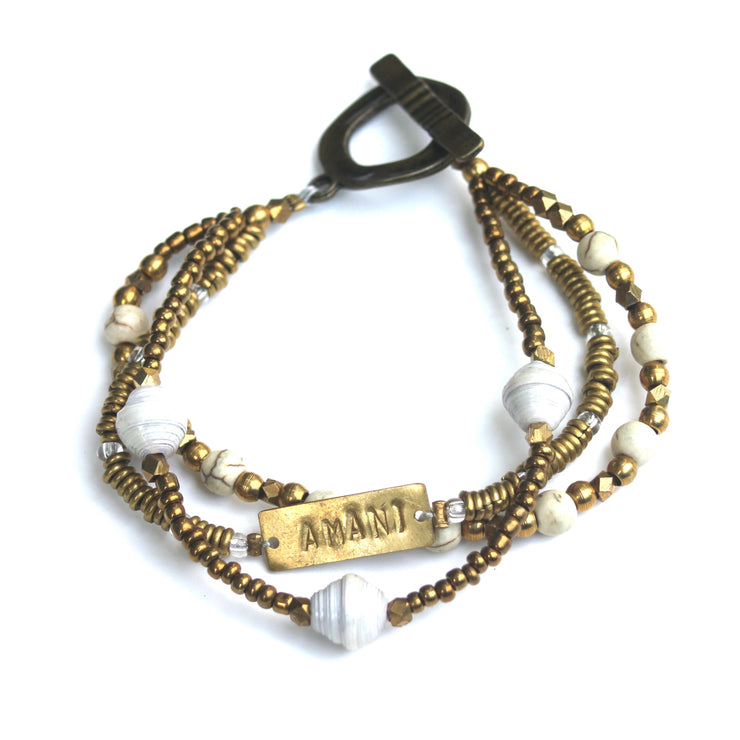 Amani Means Peace Brass Bracelet