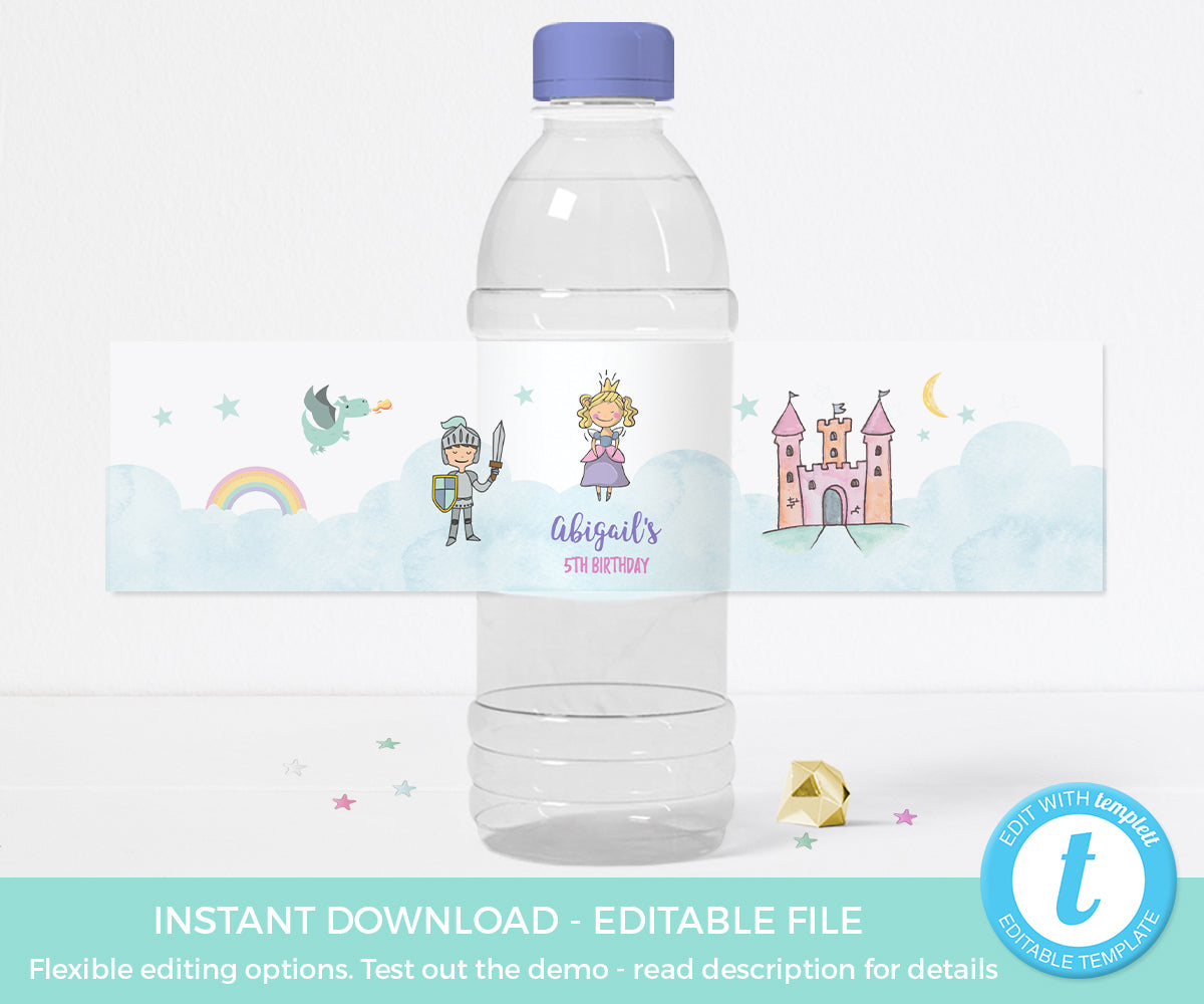 Fairytale Water Bottle Label Blimpcoparty