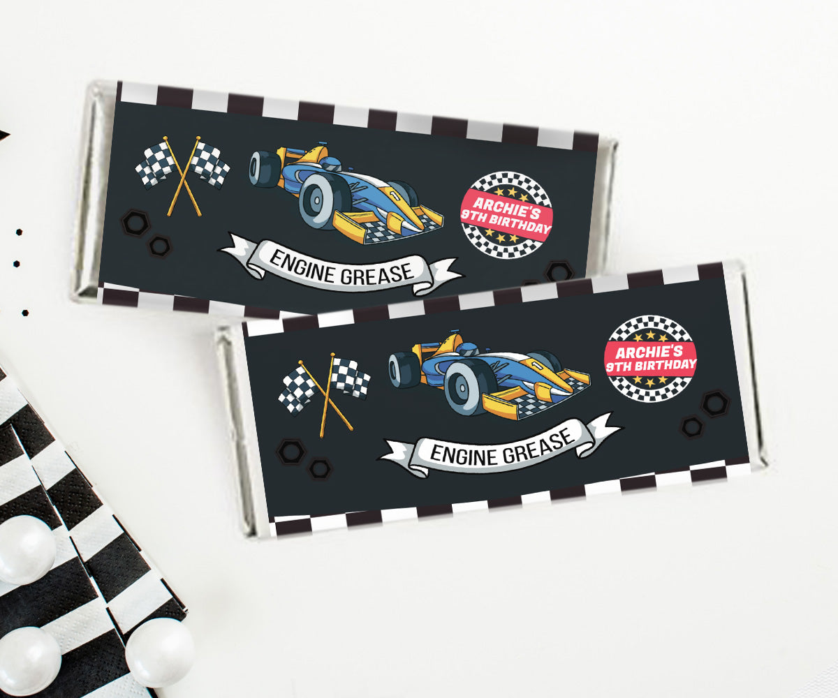 Racing Cars Chocolate Wrapper 4x6