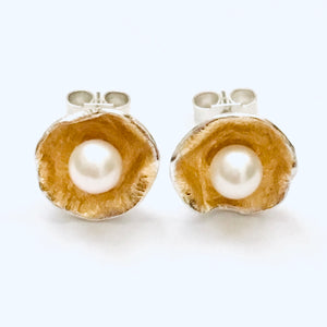 Silver and gold leaf pearl earrings