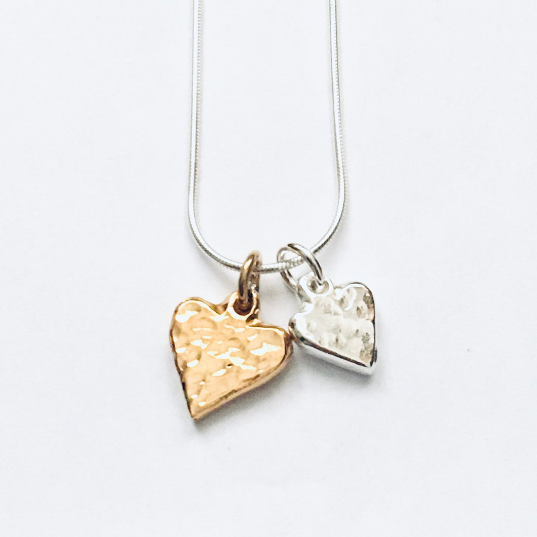 Silver and gold vermeil heart pendant