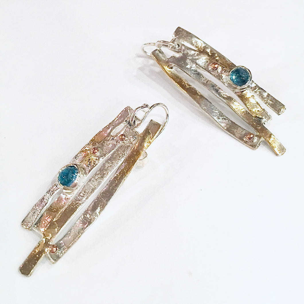 Silver, 9ct gold and blue topaz earrings