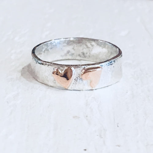 Silver and 9ct rose gold hearts ring
