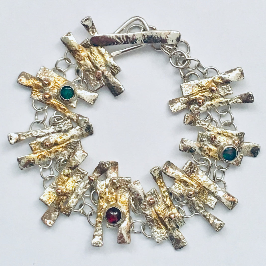 Silver, 9ct gold, opal and garnet bracelet