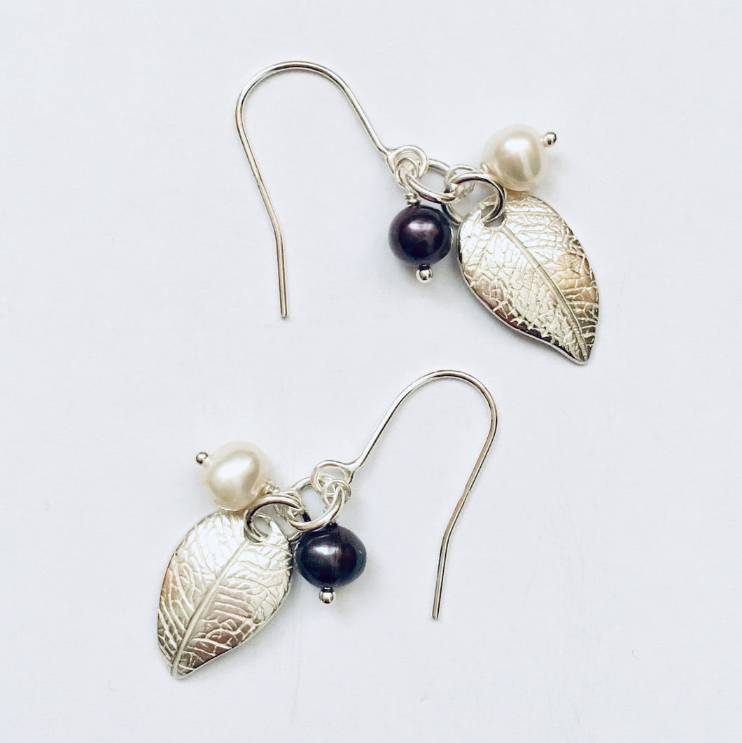 Silver and freshwater pearl earrings