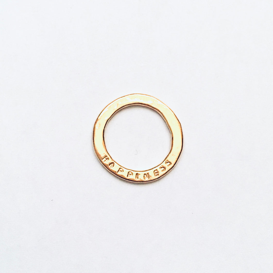 "Gold vermeil ""happiness"" inspiration disc"